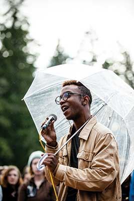 Jamil Bee joins fellow students in a protest on Red Square. LGBTQ+ and students of color gathered to express fear and concern for marginalized groups in the wake of the 2016 presidential election.