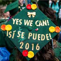 Yes We Can! is displayed on the top of a graduation cap.