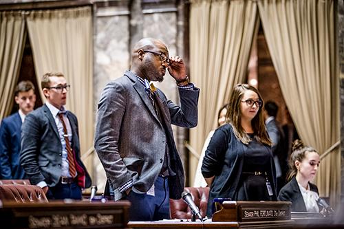 Kelsall during his Evergreen legislature internship