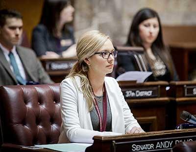 BreAnn Sherrill in the Senate chamber