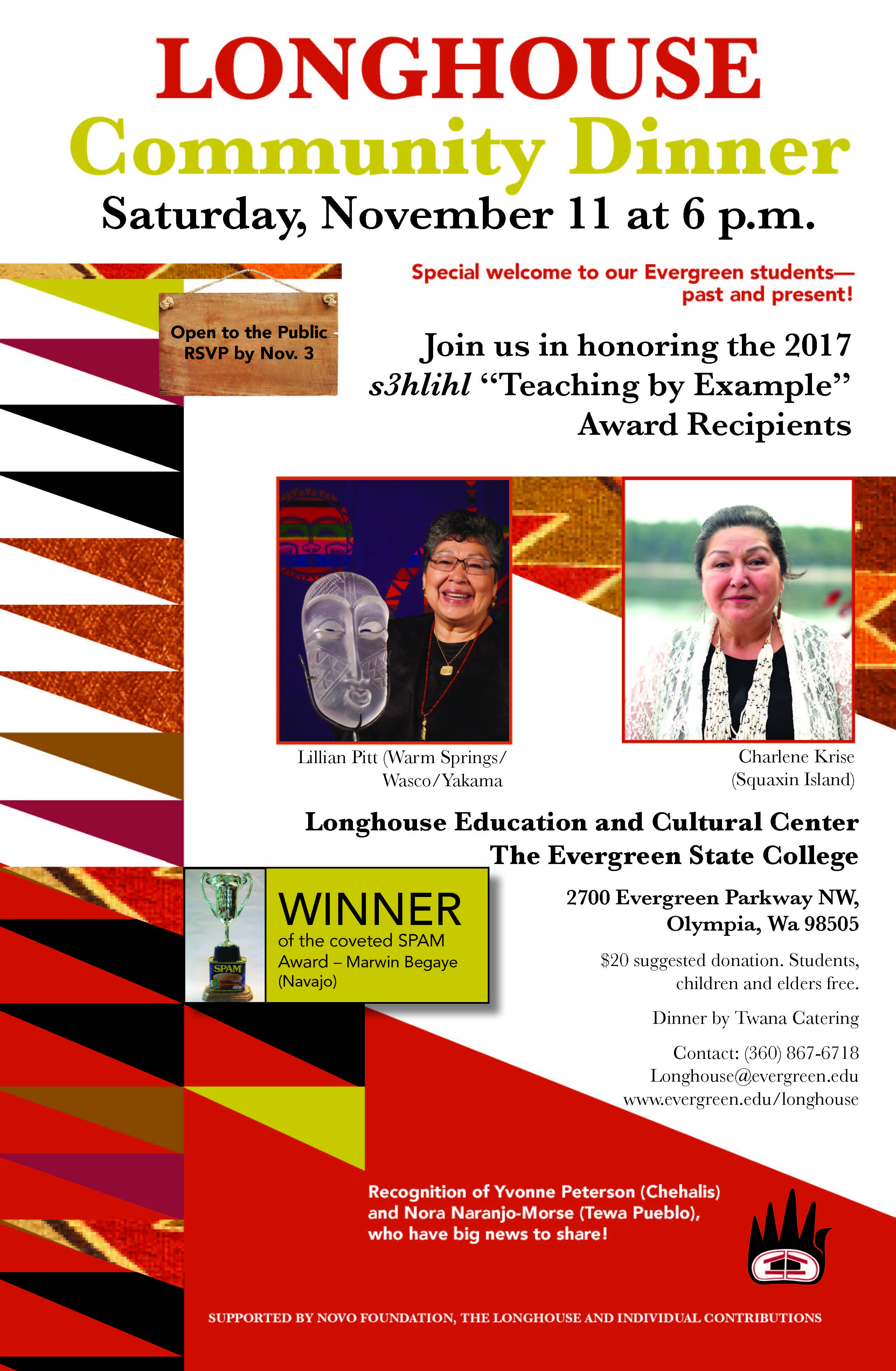 2017 Longhouse Community Dinner flyer with pictures of Lillian Pitt and Charlene Krise.