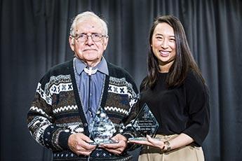 Joseph Albert Dear Distinguished Alumni Award winners Ron Charles '97 and Yuh-Line Niou, '04.