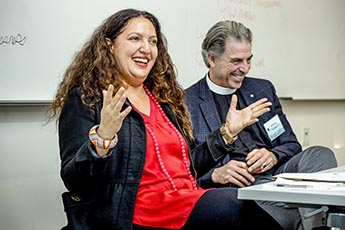 Sarah Eltantawi and Michael Corrigan '77 in Living a Righteous Life in a Secular World.