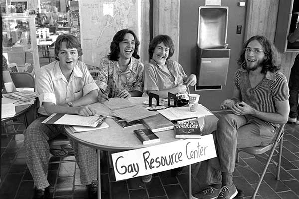 An information table for the Gay Resource Center circa 1974.