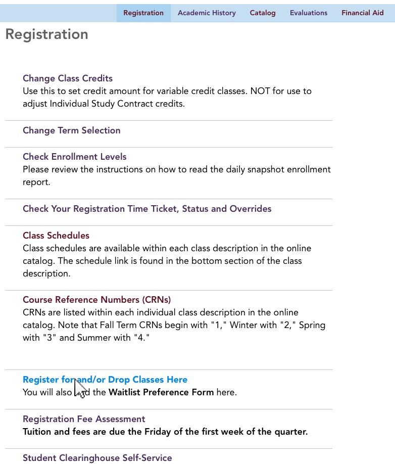 9registrationregisterlinkg The Evergreen State College