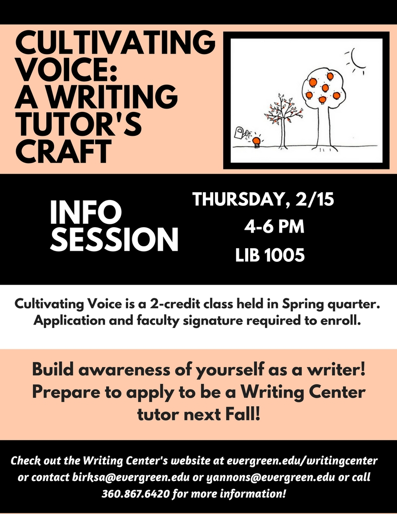 Flyer for Cultivating Voice Info Session, date 2.15.18