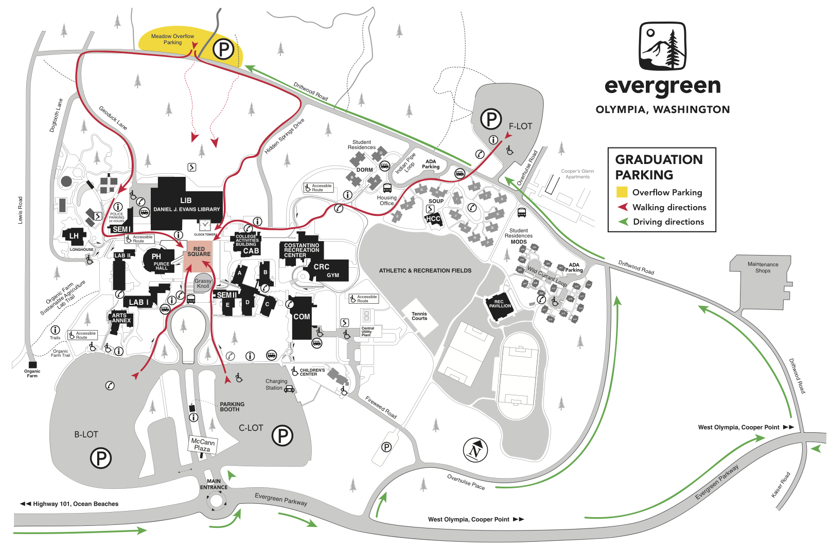 Map of Evergreen's campus with parking areas for graduation day.