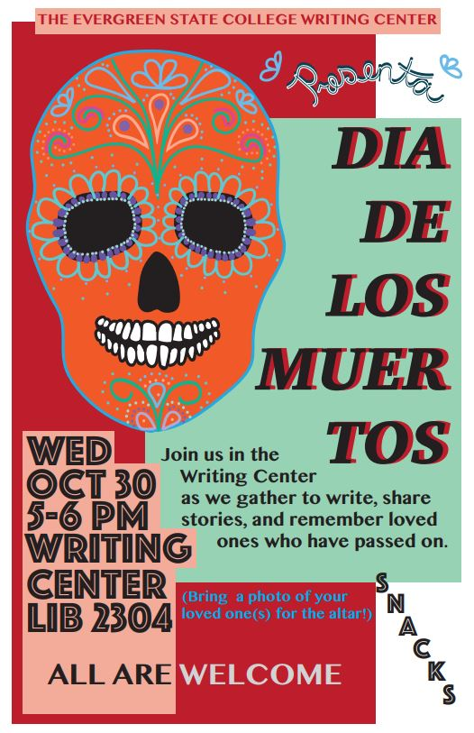 Dia de los Muertos poster with decorated skull; very colorful