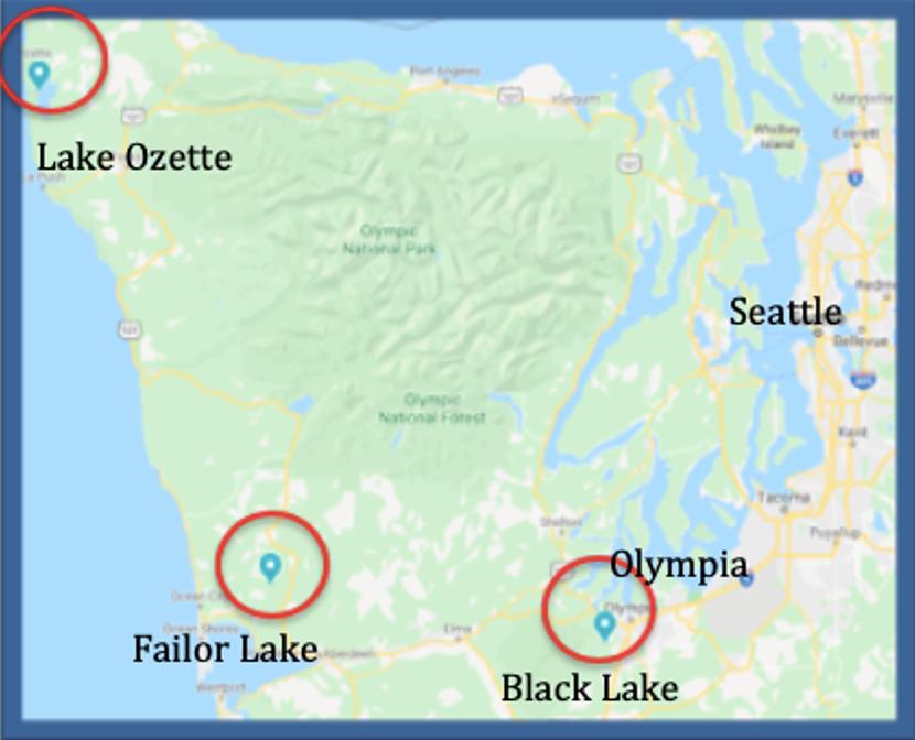 Map of lake sites in NW Washington