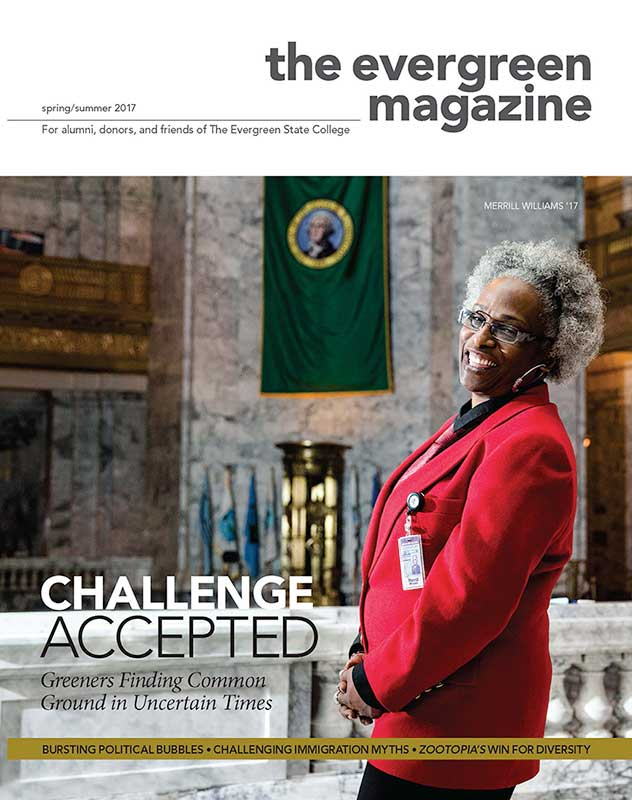 Cover of the Winter 2017 edition of The Evergreen Magazine.