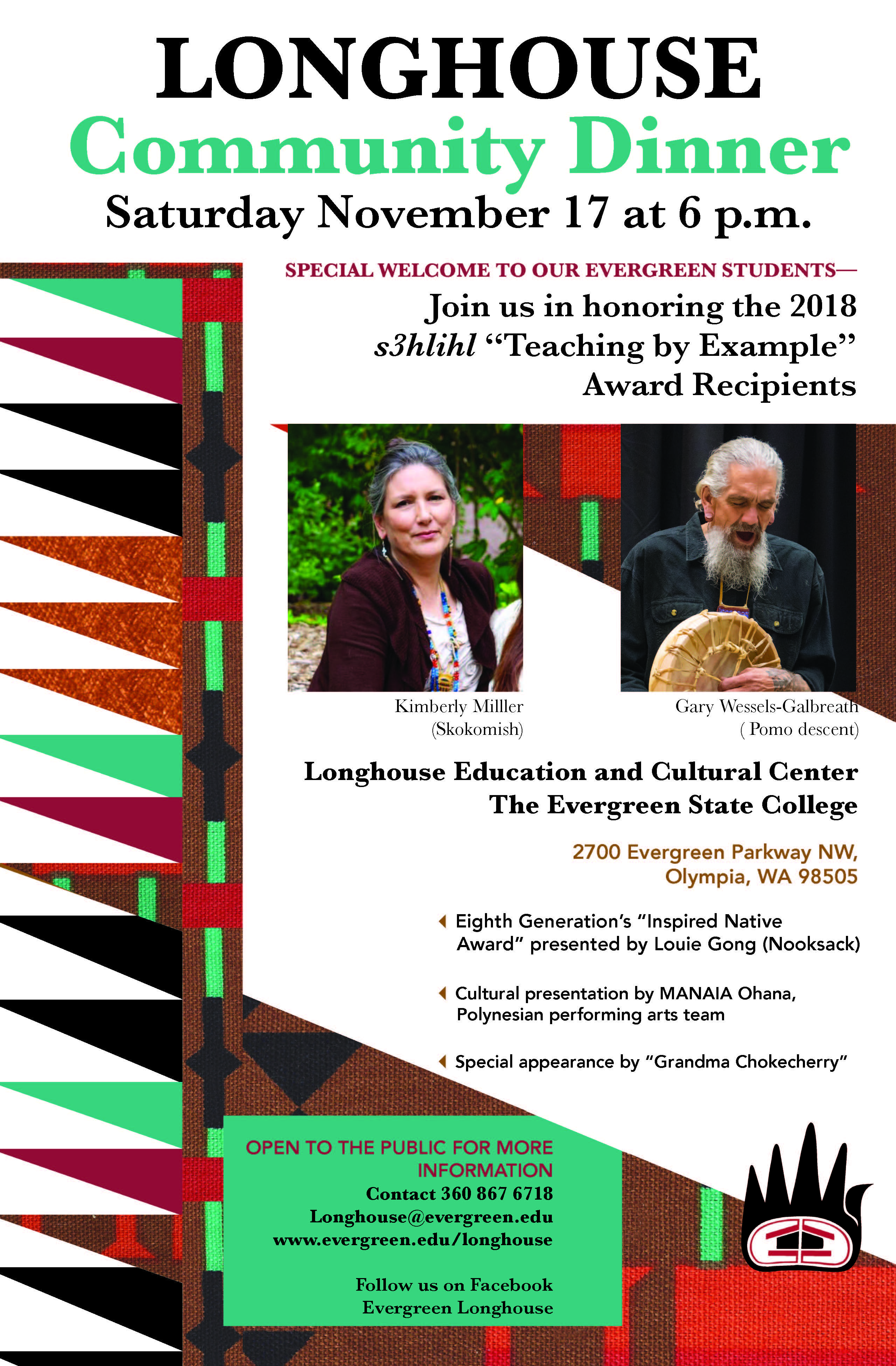 Longhouse 2018 Community Dinner flyer (November 17 at 6 p.m.)