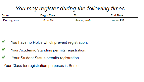 Image of registration screen displaying student's time ticket