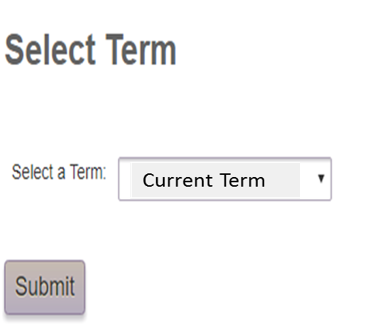 Image of where you will find the registration term drop down list