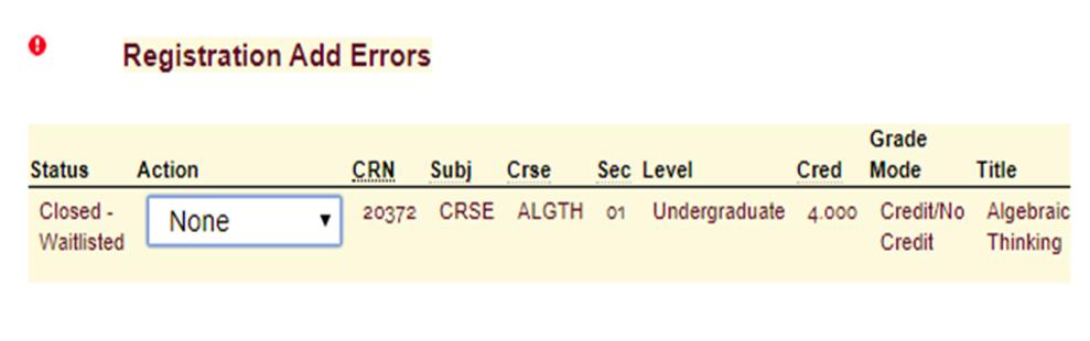 Image of sample of a Registration Add Error