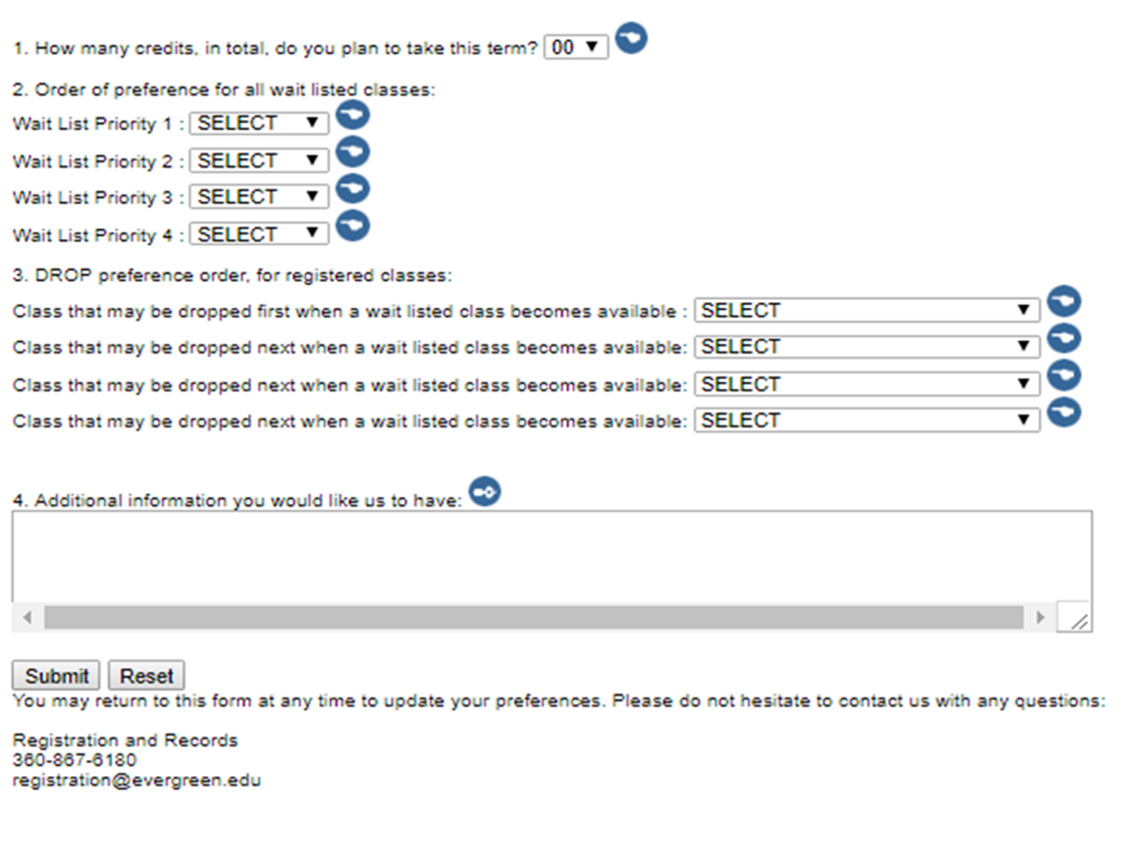 Image of the wait list preference form