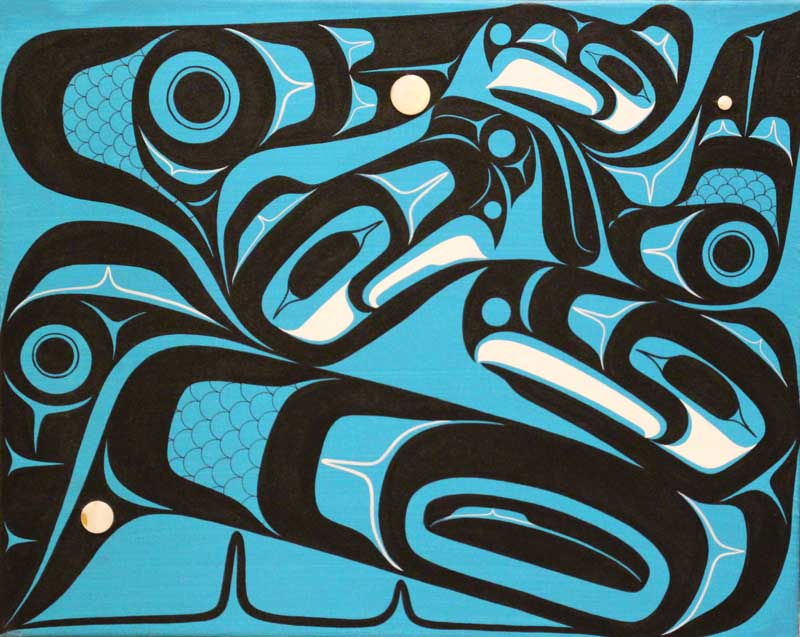 """We Fly as One by Blake Shaá'koon Lepine. Acrylic on canvas with abalone buttons, 16""""x20"""". Donated by Marcia Mueller MES '94."""