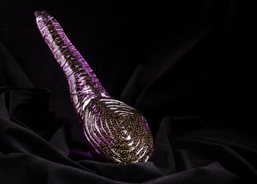 Hand-sculpted Glass Geoduck with Gold Embellishment by Dan Friday • Value: $2,500