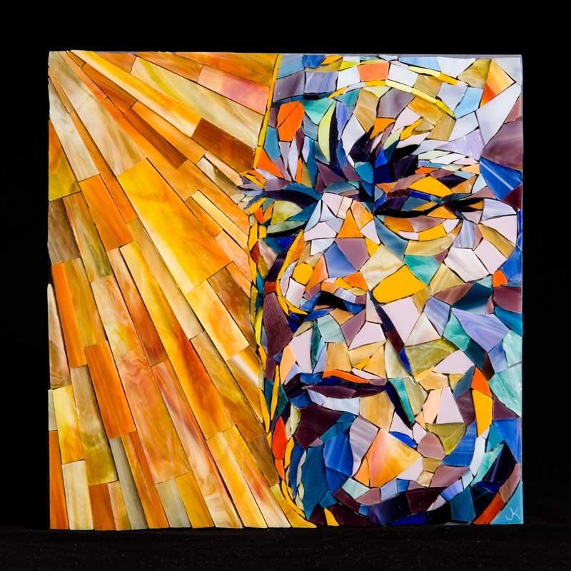 "Relief by Jennifer Kuhns. Glass Mosaic, 10""x10"". Donated by Jennifer Kuhns '93."