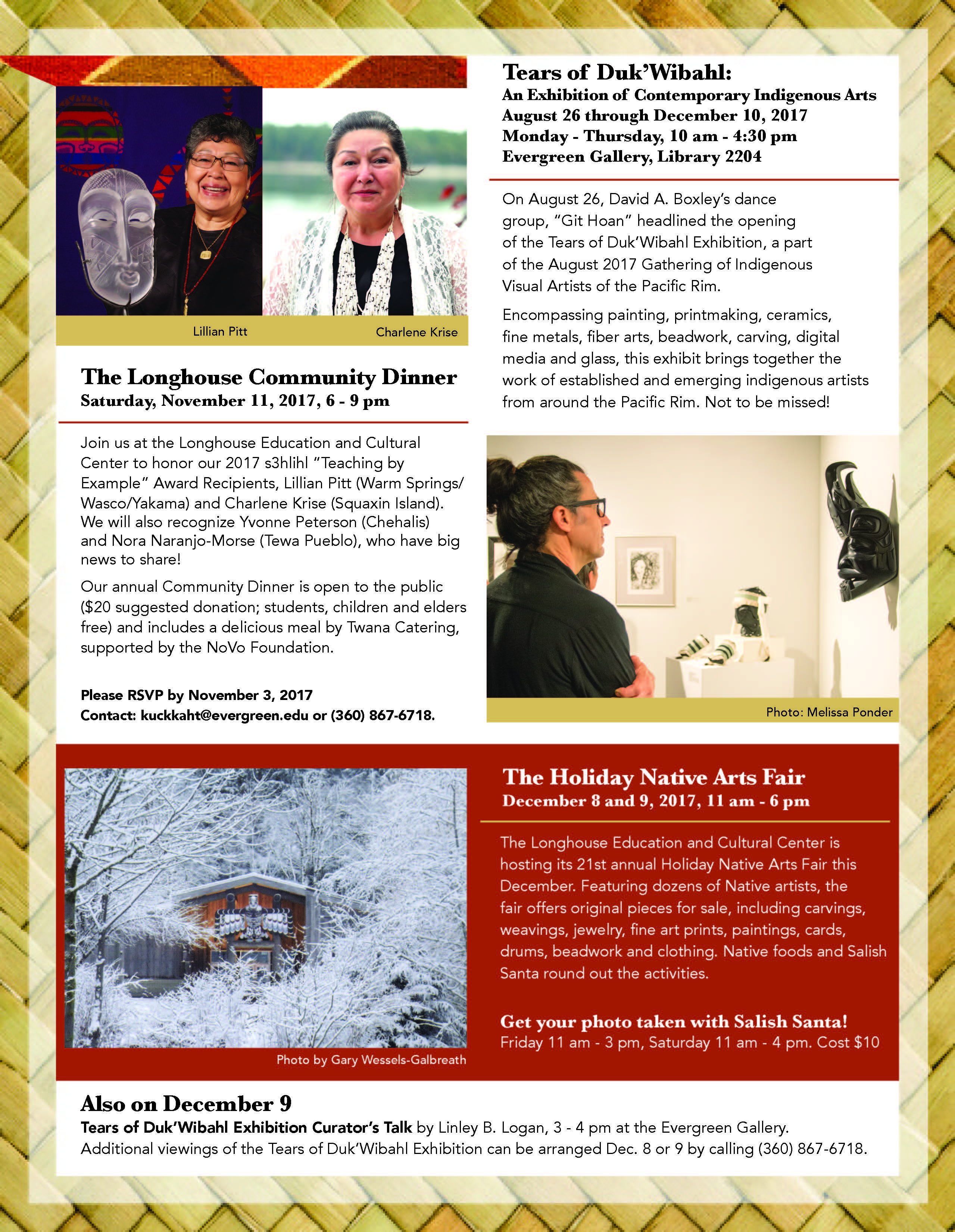 Longhouse Education and Cultural Center October 2017 update. Page two with details about the Tears of Duk'Wibahl Exhibition, Community Dinner, and Holiday Native Arts Fair.