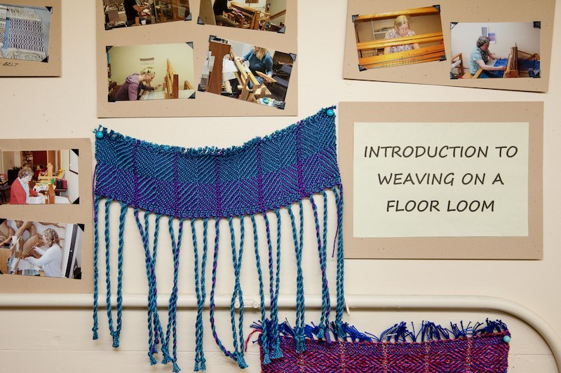 Some weaving samples and photos of students working on looms in the weaving studio at Arbutus Folk School.