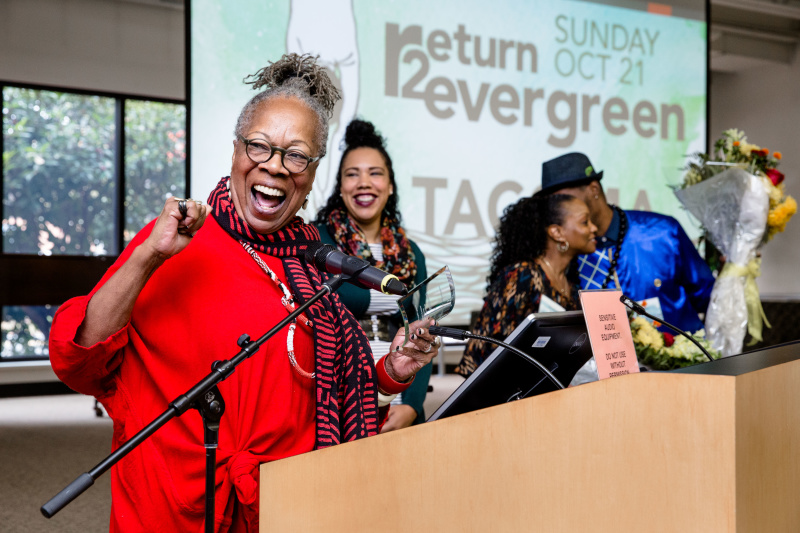 Return to Evergreen-Tacoma acknowledged the renaming of Lyceum Hall in honor of Dr. Maxine Mimms and Dr. Joye Hardiman.