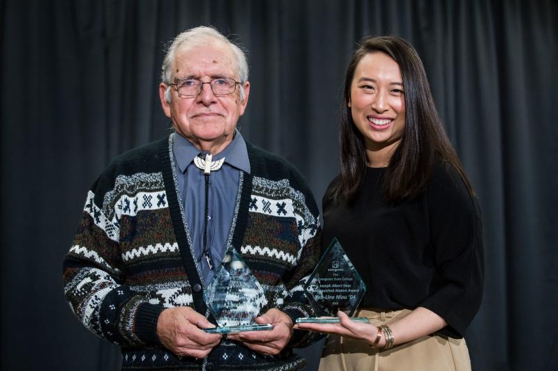 Joseph Albert Dear Distinguished Alumni Award winners Ron Charles '97 and Yuh-Line Niou '04.