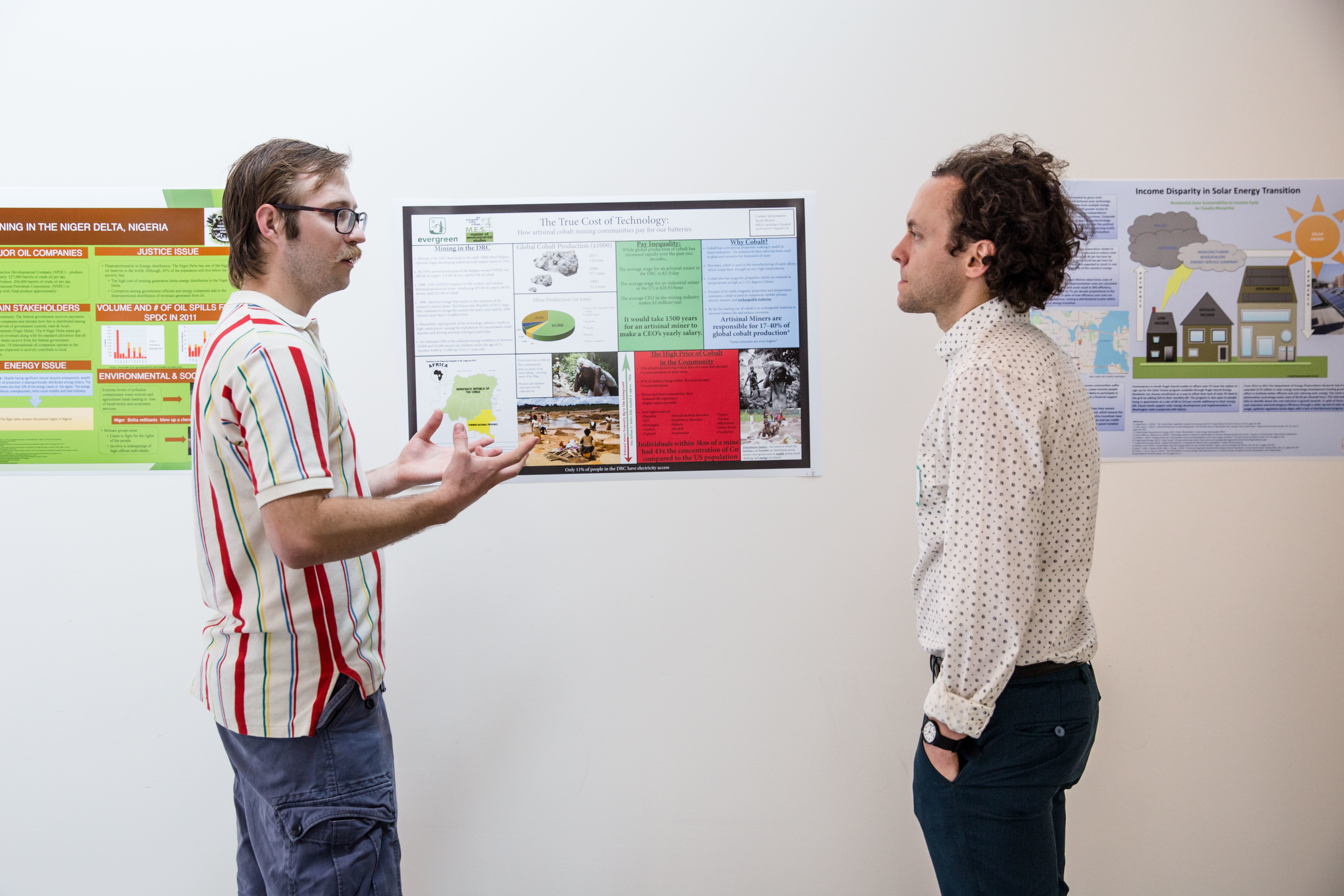Two people discussing poster