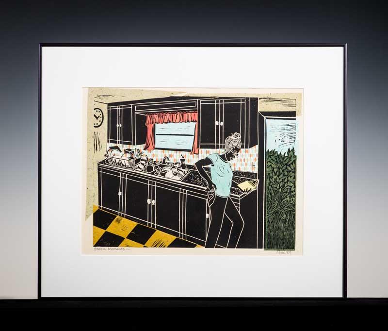 "Stolen Moments by Mimi Williams. Linoleum Cut Block Print, 24""x24"". Donated by Mimi Williams '05."
