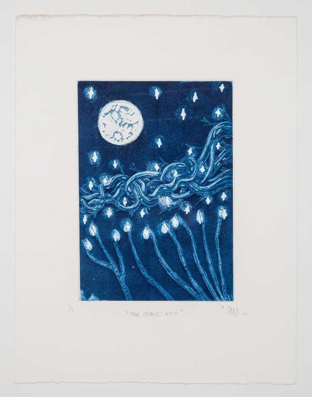 "The Stars: XVII by Rémy Barrows-O'Neal. Intaglio Print, 8.5""x11"" Donated by Remy-Barrows O'Neal, class of 2017."