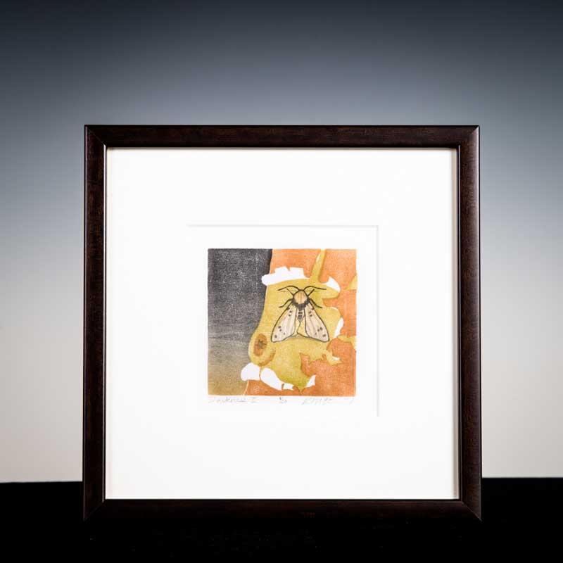 """Darkness II by Kristen Etmund. Woodblock Print with 22kt gold leaf, 9.5""""X9.5"""". Donated by Kristen Etmund '03."""