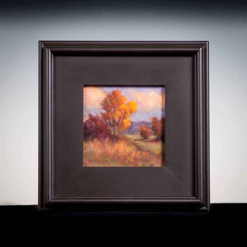 "Lower Valley Autumn by Deborah Henderson. Pastel, 6""x6"". Donated by Deborah Henderson."