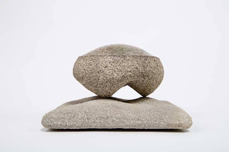 """Mound by Martin Beach. Granite and Indiana Limestone sculpture, 9""""x9""""x6"""". Donated by Martin Beach '10."""