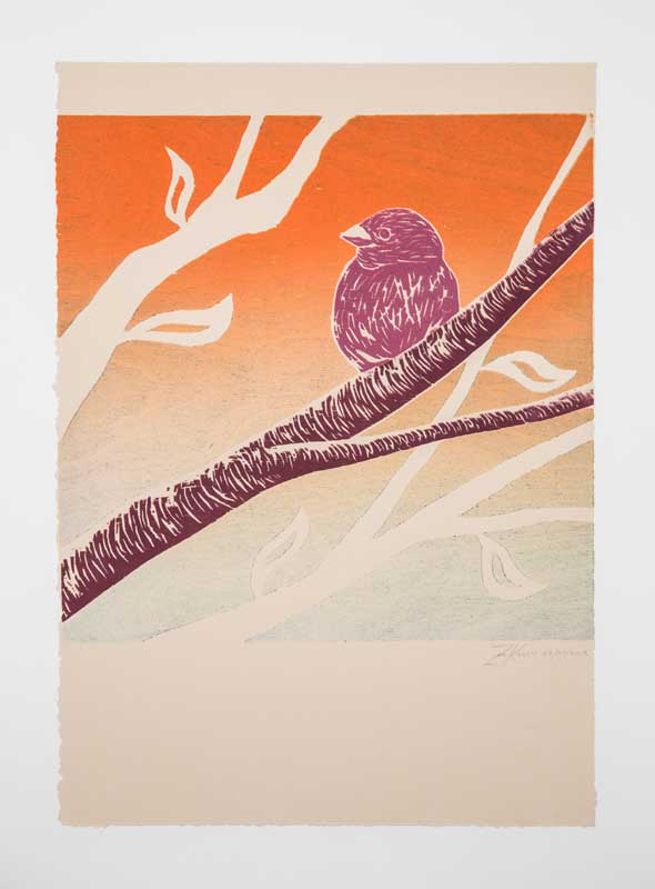 Lonely Bird by Zoey Kolln. Woodcut jigsaw monoprint. Donated by Zoey Kolln, class of 2017.
