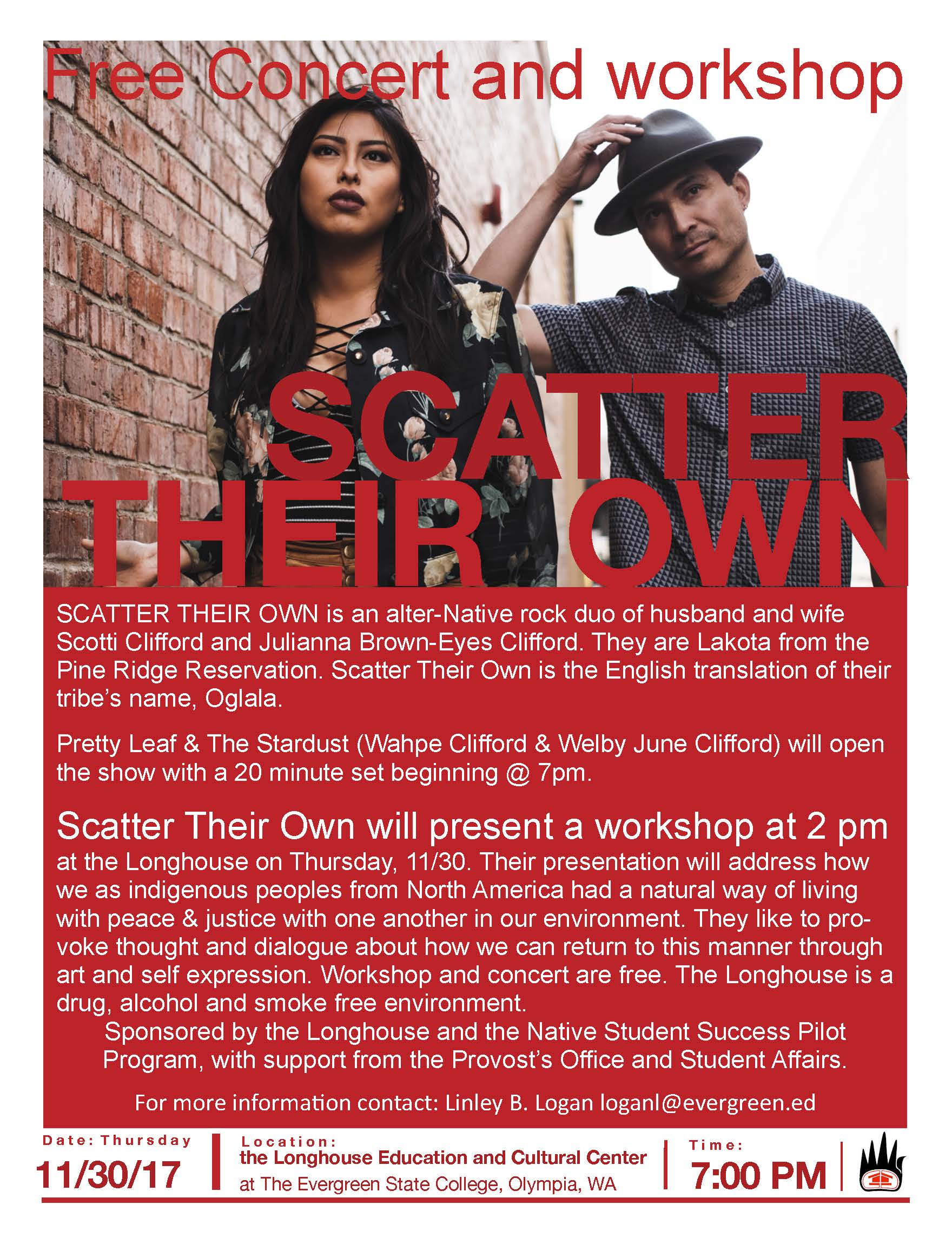 Free Scatter Their Own concert and workshop on November 30, 2017, 7:00 p.m.