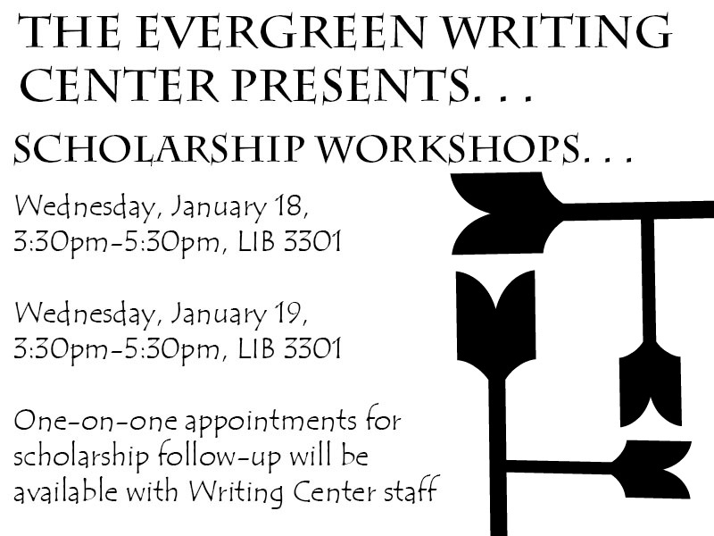 30 PM in Lib 3301. One-on-one appointments for scholarship follow-up will be available with Writing Center staff.