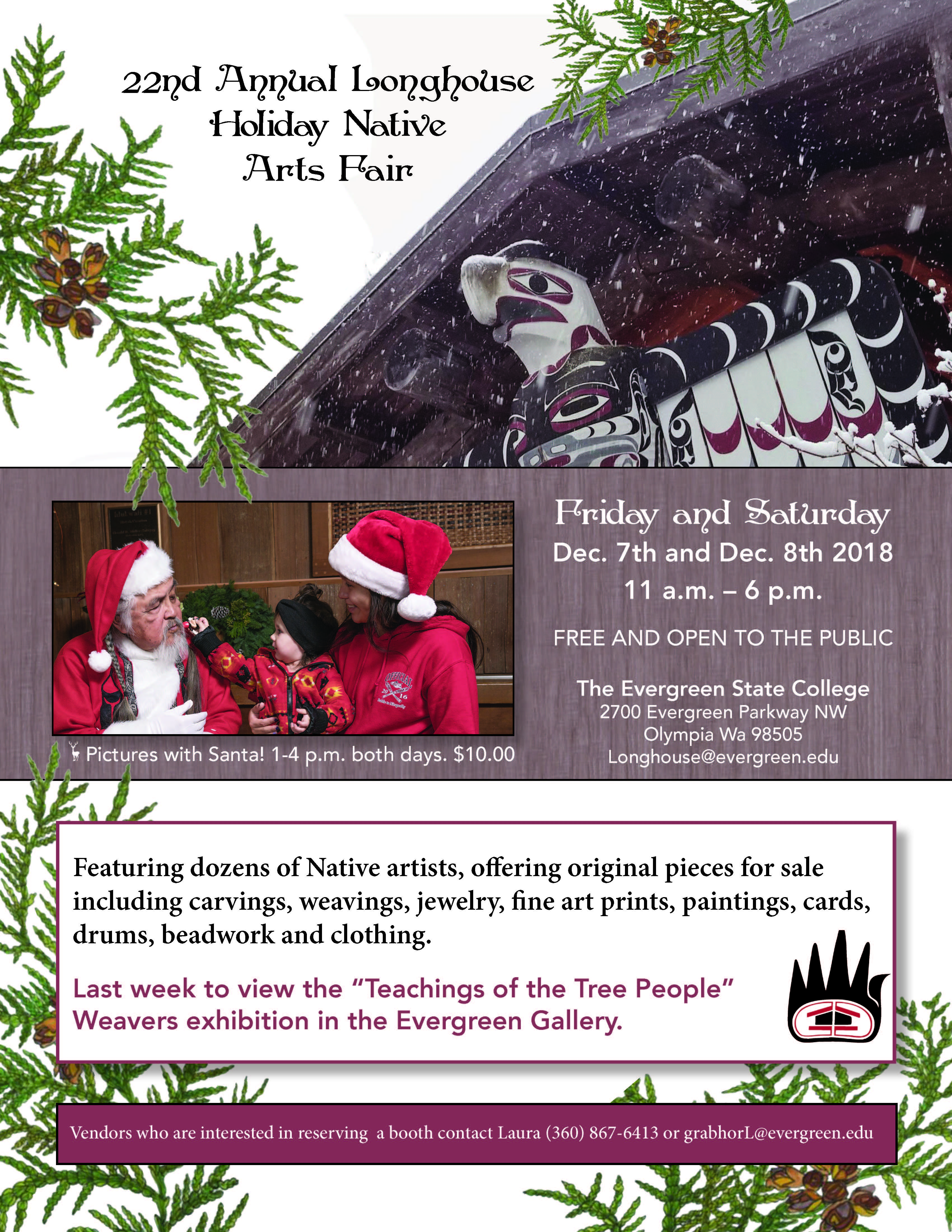 2018 Holiday Native Arts Fair flyer (December 7-8 at the Longhouse)