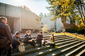 Students sit in the sun
