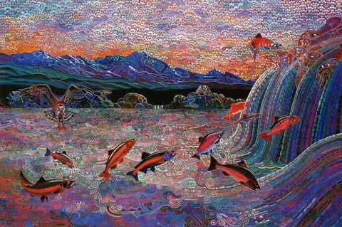 The Last Salmon Run, Oil on Canvas by Alfredo Arreguin
