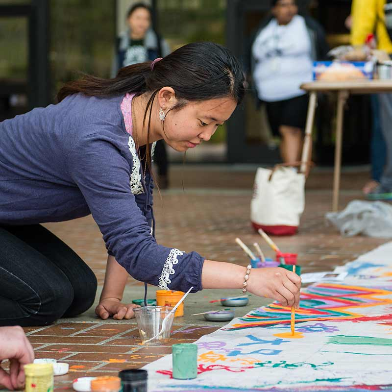 Student Activities Painting Posters on Red Square