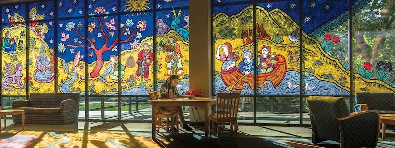 Evergreen Library Glass Window