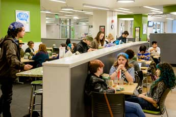 Students eat at The Greenery