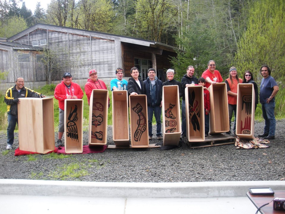 David Boxley, Sr. led a bentwood box drum residency after the first carving studio, Pay3q'ali, opened in 2012.