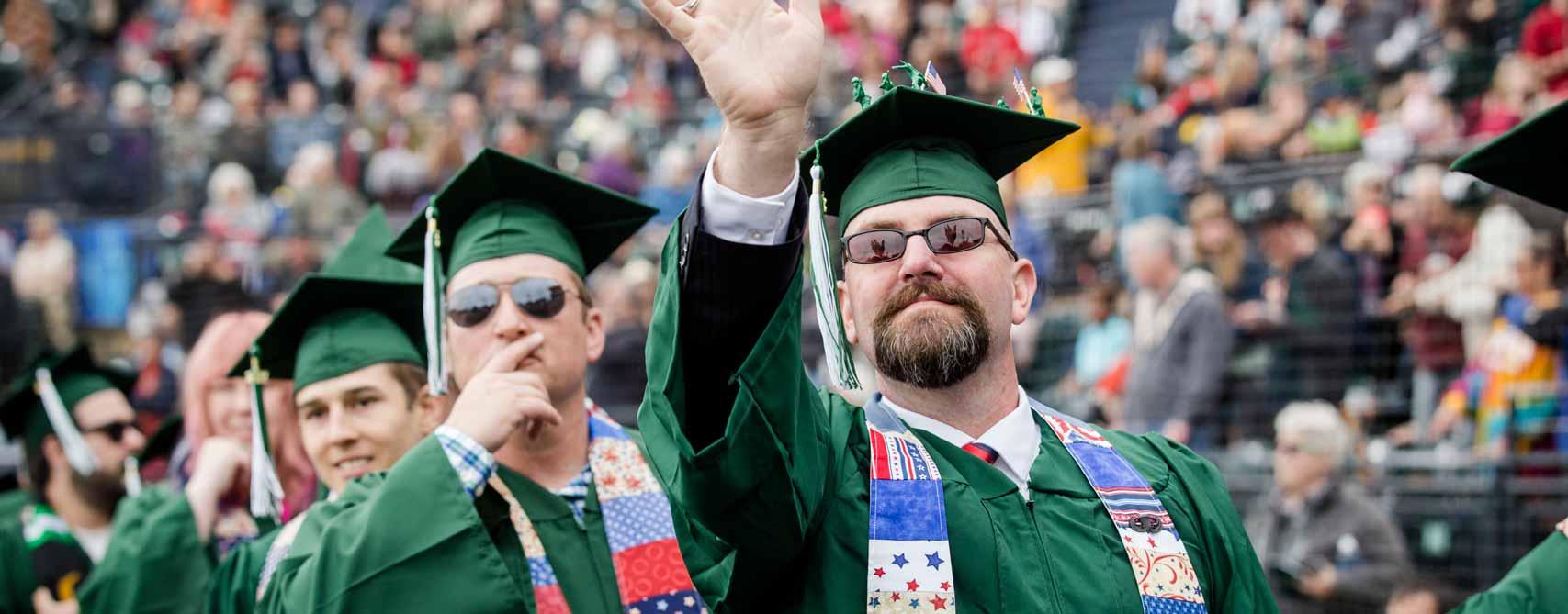 'Grats Greener grads. Watch live.
