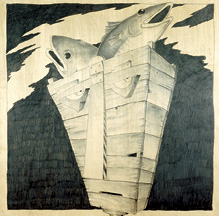 "Paul Sparks, Fish Head, 1986, graphite on wood, 60""x 60"