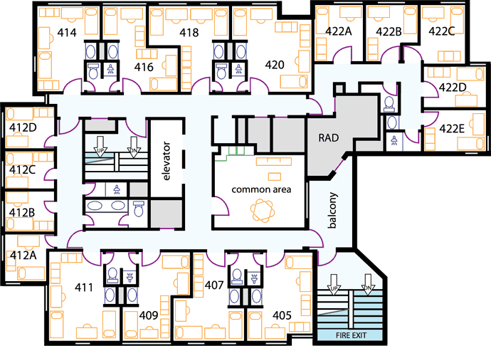 Residence Halls on house plans layout design