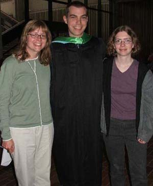 Photo of Sean Riley, MIT alumni, with Laura Coghlan and Jenni Minner.