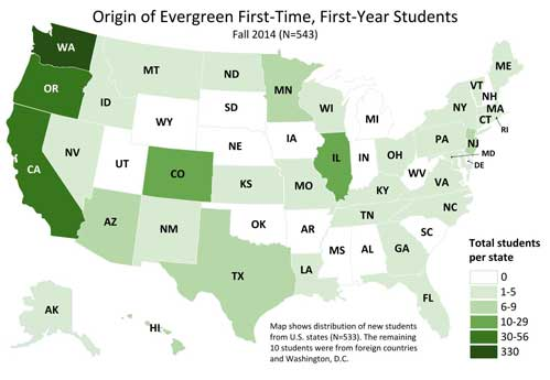 Image and link to map of origin of Evergreen students