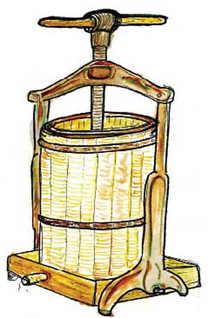illustration of a cider press