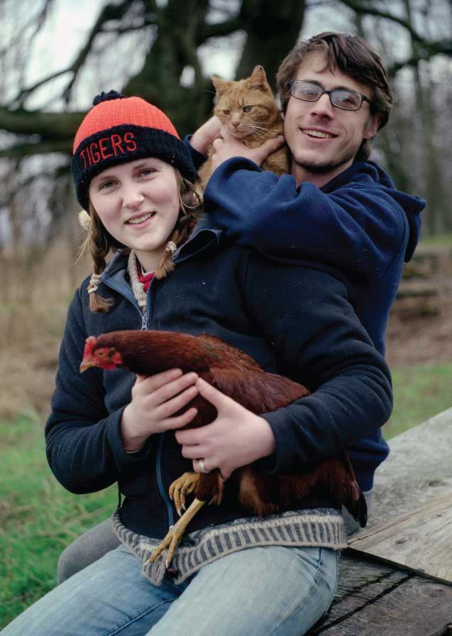 Image of Katherine Isserlis with Well Fed Farms co- owner Erik Olson and Friends