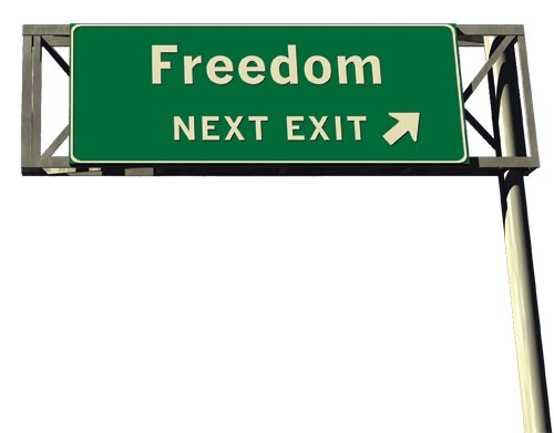 the word freedom on a sign with arrow